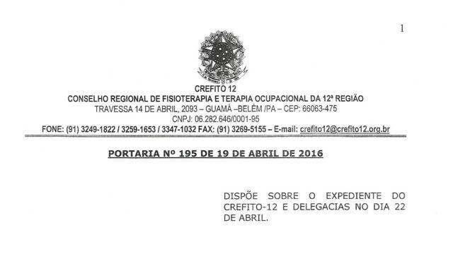 PORTARIA 195 DE 19 DE ABRIL DE 20161